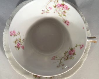 Theodore Haviland Limoges Pink/White Roses Schleiger 149, Blank 118 Cups and Saucers, Set of 6