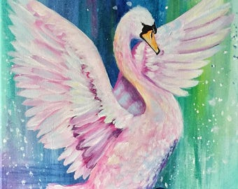 Colorful Pink Swan Abstract Modern Painting