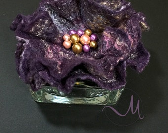 Wool Accessories Felt Wool Brooch Purple Bronze Felted Floral Accessories Prom Corsage Flower Lapel Exclusive Dress Pin Wedding Brooch Gift