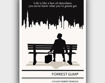 Literary Art Print Forrest Gump Poster Large Wall Art Literary Quote Print Illustration Minimalist Print Life is like a box of chacolates