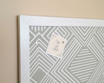Geometric Grey Fabric Magnetic Board / Magnets Included / Bulletin Board / Back To School
