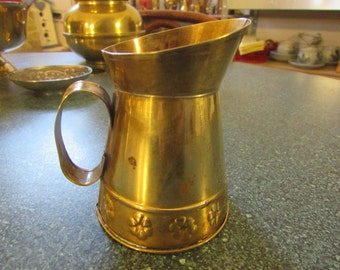 Vintage Miniature Brass Pitcher W/ Raised Flower Design