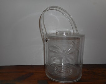 Sale! Mid Century Lucite Ice Bucket with Palm Trees