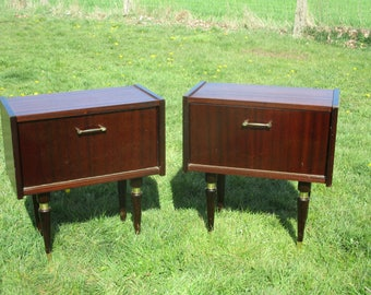 Pair Couple Vintage Nightstands End tables Cabinets Mid Century Modern
