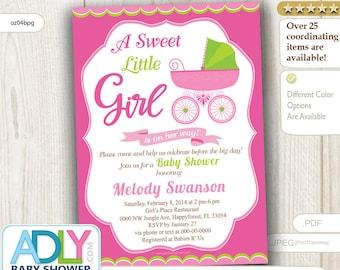 Girl Carriage Baby Shower Invitation, Printable Girl Carriage Baby Shower Card . Apple green, pink, DIY, printable INSTANT DOWNLOAD-oz04bpg