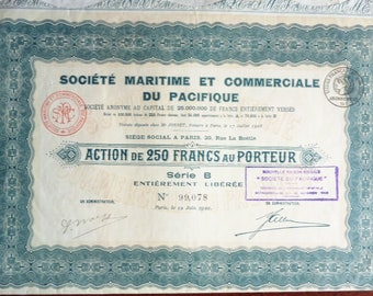 Three Old French Share Certificates (Actions). Dated 1920, 1925 and 1925. (Scripophily). Lot No 2