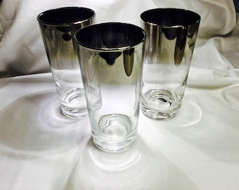 Vitreon Queen's Lusterware Silver Fade Ombre Retro Barware:   Highball, Old Fashioned and Roly Poly glasses.  Late 1950's vintage  Beautiful