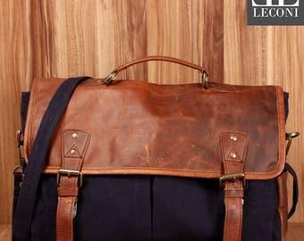 LECONI Messenger bag DIN A4 Messenger bag shoulder bag leather of canvas navy LE3018-C