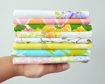 8 Pack. Vintage Sheet Fat Quarters. Surprise Pack. Quilt Bundle.