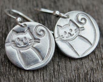 Silver cat earrings, cat earrings, cat lover gift, silver animal earrings, pet lover earrings, cute cat earrings, kitty earrings
