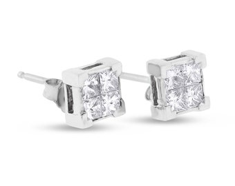 1.00 CT Natural Diamond Illusion Set Princess Cut Earrings Solid 14k White Gold