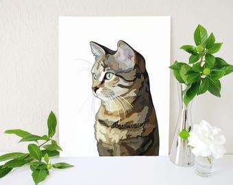 Tabby Cat Art Print, Tabby Cat Painting, Cat Gift, Cat Lover Gift, Cat Print, Cat Portrait, Cat Memorial, Cat Decor, Barn Cat, Tabby Cats