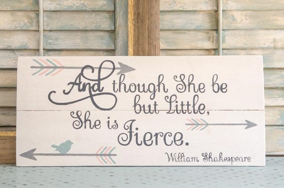 Shakespeare Quotes She May Be Small: Personalized She Is Fierce Pallet Sign Baby Girl By