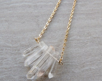 Quartz Crystal chevron necklace - Clear and Blue