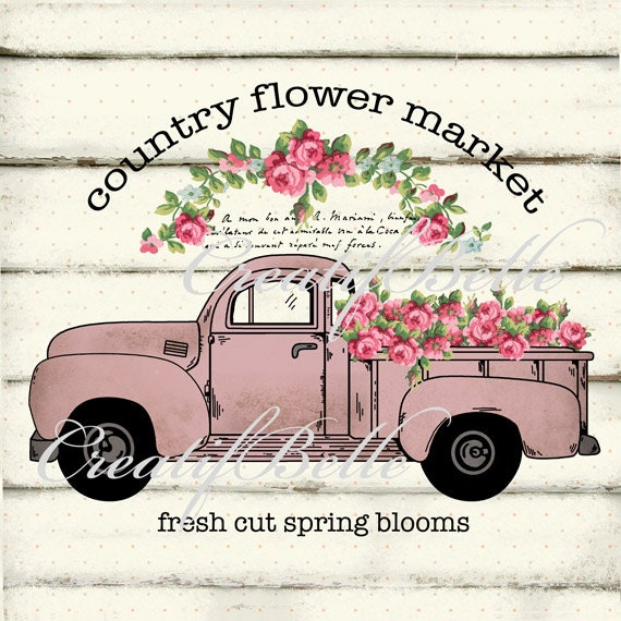 Shabby Chic Vintage Country Flower Market Pink Truck Large