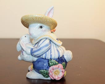 Fitz and Floyd Bustles and Beaus Bunny Sugar Bowl with Lid and Spoon – 1995