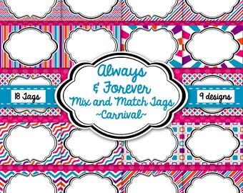 Tags, Labels, Frames-Carnival Pack-Pink, Orange, Purple, Blue-Instant Download