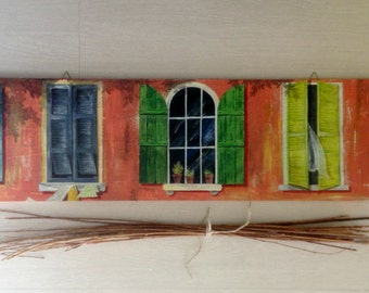 Large painting on wood italian windows/ Original windows painting on wood/ Painting window/ Woodart/ Mediterranean art/ Wall art painting