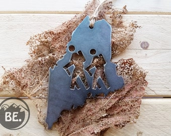 Maine Hikers Metal Christmas Tree Christmas Ornaments ME State Heart Holiday Gift Wedding Favor By BE Creations