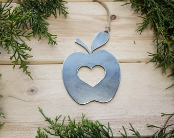 Apple Rustic Metal Ornament Teacher Gift Appreciation Farmer Steel Decor Farm to table Homesteading