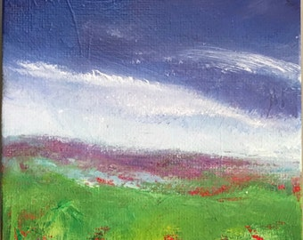 """Little Summer Field 2, Original Oil painting, 4x4"""" with 1"""" wrapped canvas"""