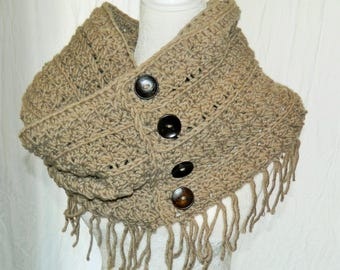 Crocheted Chunky Rustic Fringed Infinity Scarf