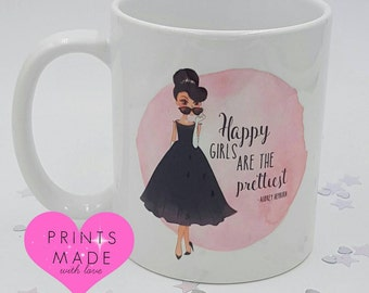 Happy girls are the Prettiest mug Audrey Hepburn quote 11oz