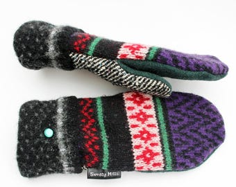 Red and Purple Striped Mittens Sweater Mittens, Women's mittens Made in Wisconsin Sweaty Mitts Green Black SweatyMitts Fleece Lined Handmade