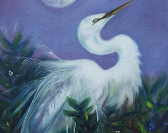 "Oil Painting Moon Bird Original Artwork Home Decor Wall Hanging Art 16""x20"""