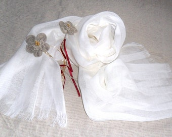 Soft Pure LINEN Scarf, white shawl , Summer Scarf   wedding  linen fabric