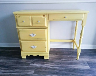 Yellow Student Desk Distressed Furniture Cottage Chic Office Decor Rustic Decor Yellow Decor Cottage Decor Cottage Furniture