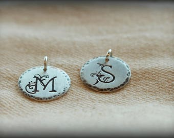 Initial Charm - sterling silver initial charm - Add on