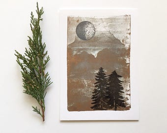 SALE! Letterpress Print - Gray Moon Over Pine Trees