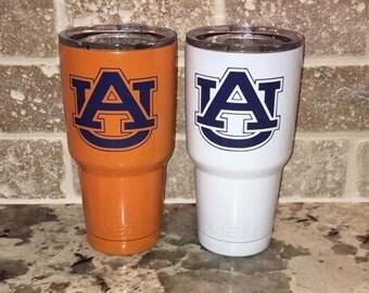 Auburn Tigers Orange or White  30 oz Yeti Rambler Tumbler / Auburn University