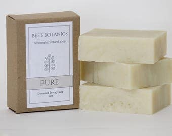 PURE Hypoallergenic Soap, Natural Baby Soap, Unscented Homemade Soap, Fragrance Free Soap, Beesbotanics Vegan Soap, Conditioning Shea Soap
