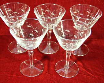 Set of Five Etched Glass Wine Glasses