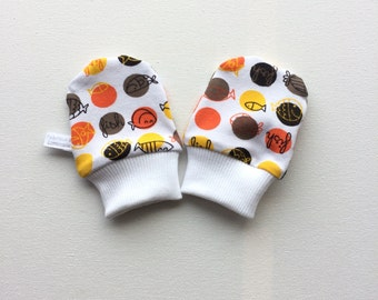 White baby mittens with fish, baby scratch mitts, white knit fabric with fish in orange and gray. Baby Gift. Baby Girl Hand Covers
