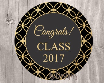 Graduation favor tags, Class of 2017 black and gold graduation tags, INSTANT DOWNLOAD, black and gold congrats class of 2017 cupcake toppers