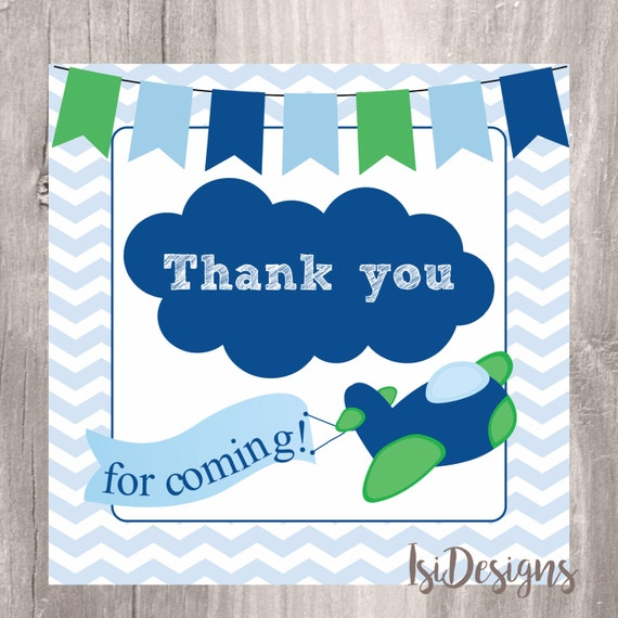 Airplane Birthday Party Favor Tags: Thank You Tags, Printable Airplane Baby Shower Favor Tags