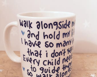 Walk alongside me Daddy gift fathers Day porcelain mug cup gift cute