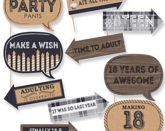 Funny 18th Milestone Birthday - Photo Booth Props - Birthday Party Photo Booth Prop Kit - 10 Photo Props & Dowels