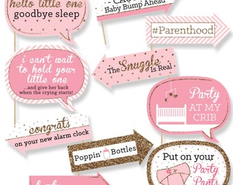 Funny Hello Little One - Pink and Gold - Photo Booth Props - Baby Shower Photo Booth Prop Kit - 10 Photo Props & Dowels