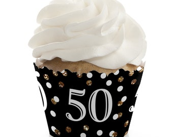 50th Birthday Cupcake Wrappers - Birthday Party Cupcake Decorations - Set of 12 - Adult 50th Birthday - Gold Cupcake Liners