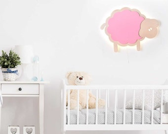 Sheep Night Light - Baby & Kid's Room Lamp - Nature Decor - Wooden Lasercut Accent Lighting - Laser Cut Nightlight