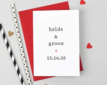 Personalised Date Wedding Day Card - Bride and Groom Wedding Card - Bride and Bride Wedding Card - Groom and Groom Wedding Card
