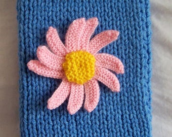 Hand Knitted Kindle Cosy, Kindle Cover, Sleeve, Pocket, with Pink Daisy