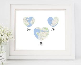 Map art print, custom map print, Engagement Gift Idea, Engagement gift for fiance, Custom engagement, personalised engagement gift