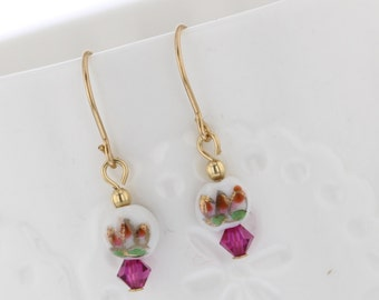 14KT Gold Filled Vintage Glass Bead Dangle with Pink Crystal Dangle Earrings, Vintage Glass, Glass Bead Earrings, White Bead, Floral, flower