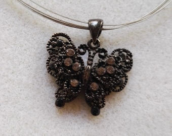 Charm necklace black butterfly embedded charm pendant silver plated necklace