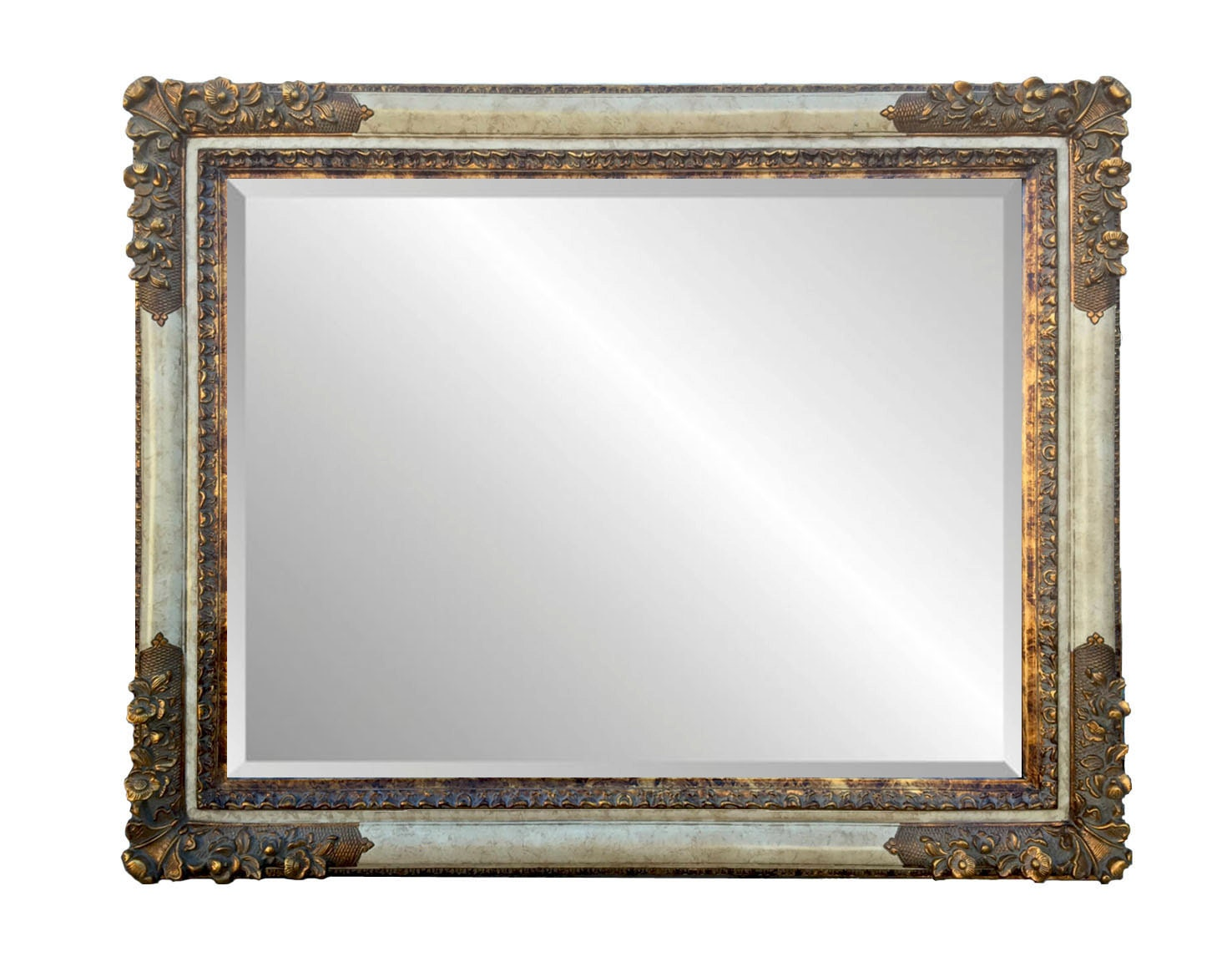 Antiqued ornate white marble faux framed 36 x 48 for Mirror 48 x 60